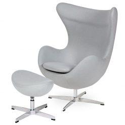 Fotel EGG CLASSIC z podnóżkiem szary popielaty.18 - wełna
