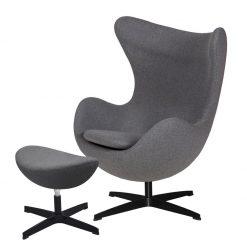 Fotel EGG CLASSIC BLACK z podnóżkiem - grafitowy szary.4