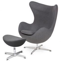 Fotel EGG CLASSIC z podnóżkiem  grafitowy szary.4 - wełna