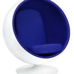 Fotel BALL biało-niebieski - włókno szklane