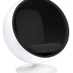Fotel BALL biało-czarny - włókno szklane