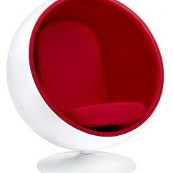 Fotel BALL biało-czerwony - włókno szklane