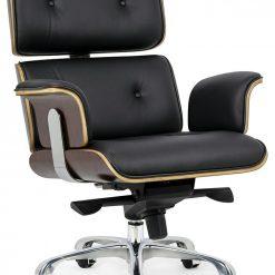 Fotel biurowy LOUNGE BUSINESS czarny - sklejka różana