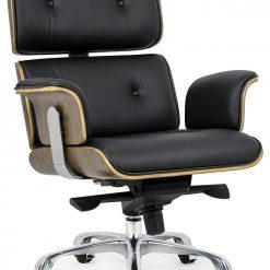 Fotel biurowy LOUNGE BUSINESS czarny - sklejka orzech