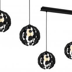 Lampa wisząca GAIA BLACK / WOOD 3xE27 60W