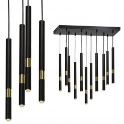 Lampa wisząca MONZA BLACK / GOLD 11xG9 8W