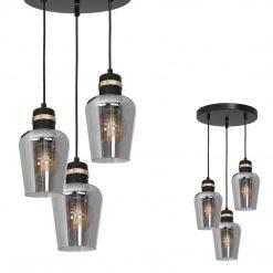 Lampa wisząca RICHMOND BLACK / GOLD 3xE27  Koło