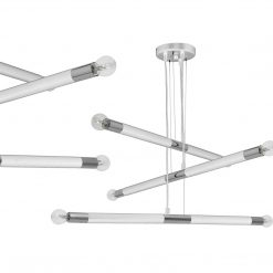 Lampa wisząca BASTONE WHITE / CHROME 6xE14